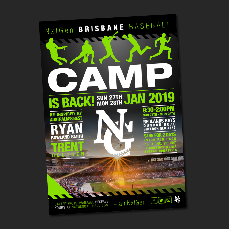 Promotional flyer Graphic Design for NxtGen Baseballs Camp Training program.