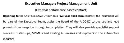 Executive Manager   Project Management Unit