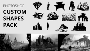 custom shapes pack for photoshop, with trees, buildings and textures