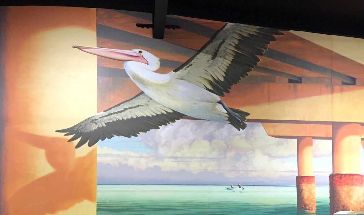 Pelican in Kippa-Ring mural at Ariala Restuarant, painted by Tom Cosic Art