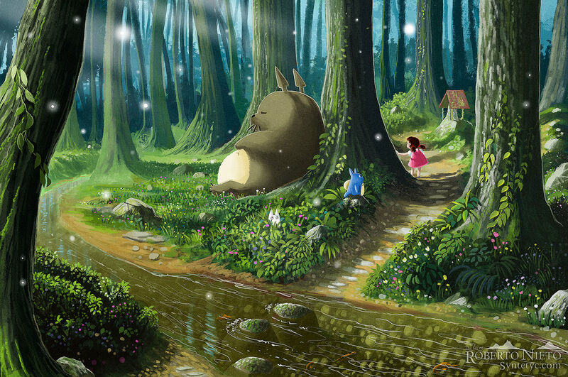 Fan Art of Totoro in the forest with Mei. By Roberto Nieto - Syntetyc.com