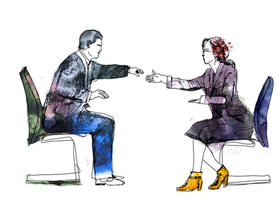 Watercolor artwork of business man and woman meeting to identify goals of customer.