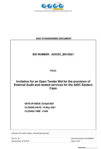 AIDCEC B01 2021 BID DOCUMENT  Provision of External Audit Services 1