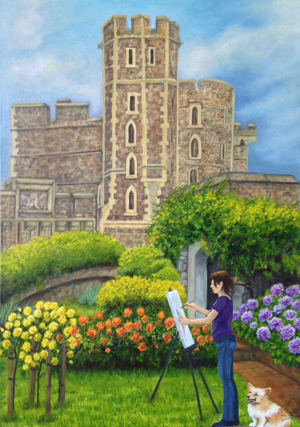 Oil Painting of Windsor Castle from Queen's Moat Gardens