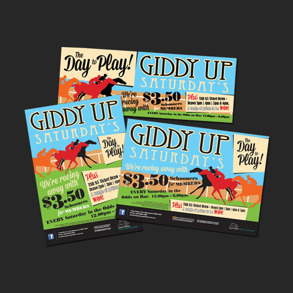 Point of Sale Design for Port Macquarie Panthers Giddy Up Saturdays Promotional Suite - Pull Up Banner Design, A2 Poster Design, A3 Poster Design, Billboard Design.