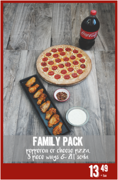Family Pack pizza and coca cola