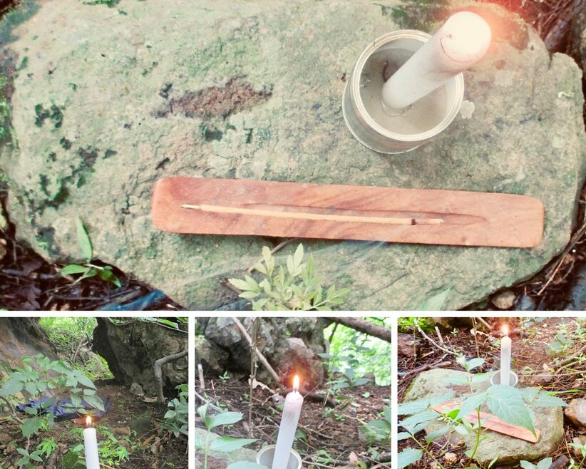 Four photos with lit candle and burning incense in a holder on top of a flat rock.