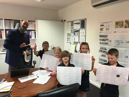 Photo Yr 2 students sharing Maths with Mr Moss