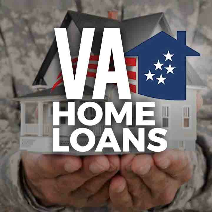 VA Home Loans text over a background of a soldier's body in camouflage fatigues arms stretched out holding a model of a beautiful 2 story model home