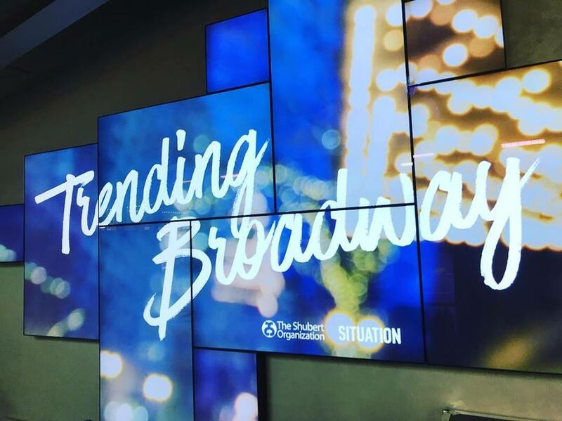 Trending Broadway event digital signage at New World Stages