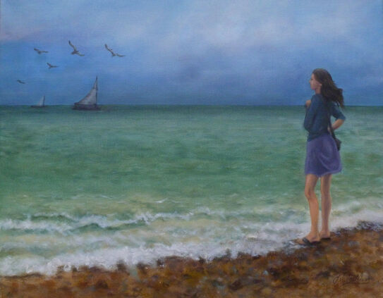 oil painting of human figure looking out to sea with boats and seagulls