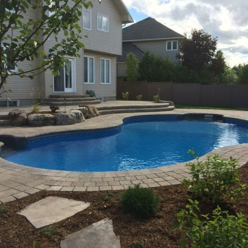 Backyard kidney-shaped swimming pool