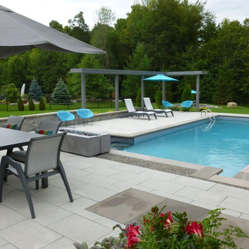 Backyard patio with swimming pool