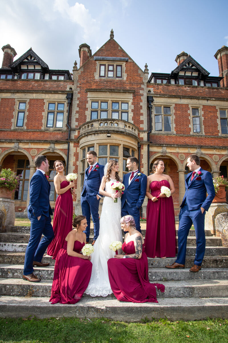 Bridal Party group photo, wedding photography frensham heights, surrey