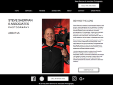 Screen shot of the about us page of the Steve Sherman Photography website.