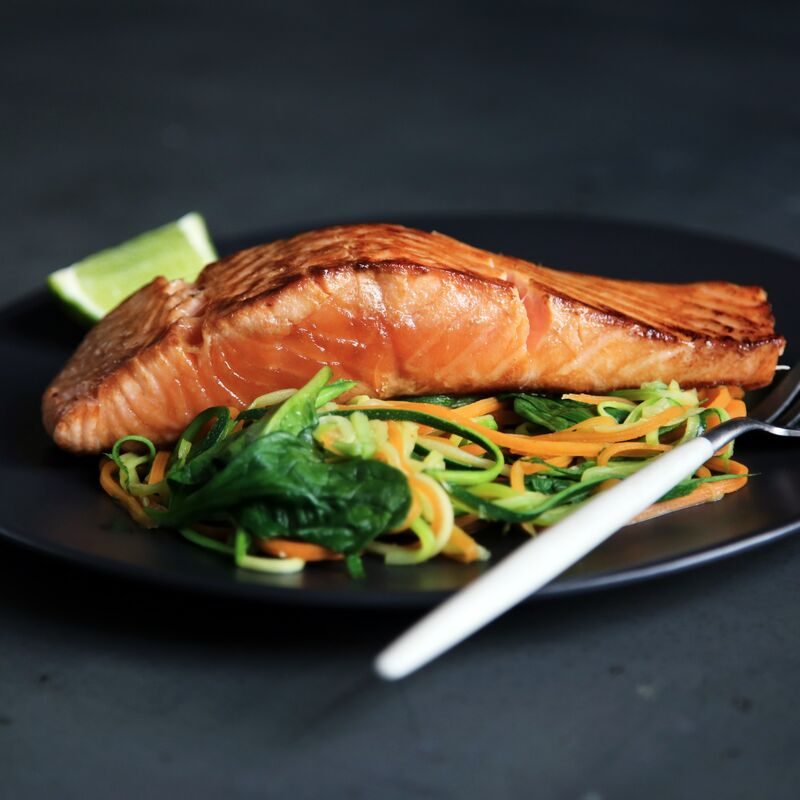 Fresh Salmon and leafy greens dish