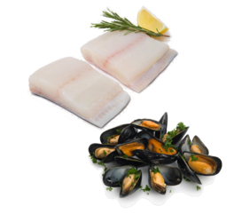 fish and mussles