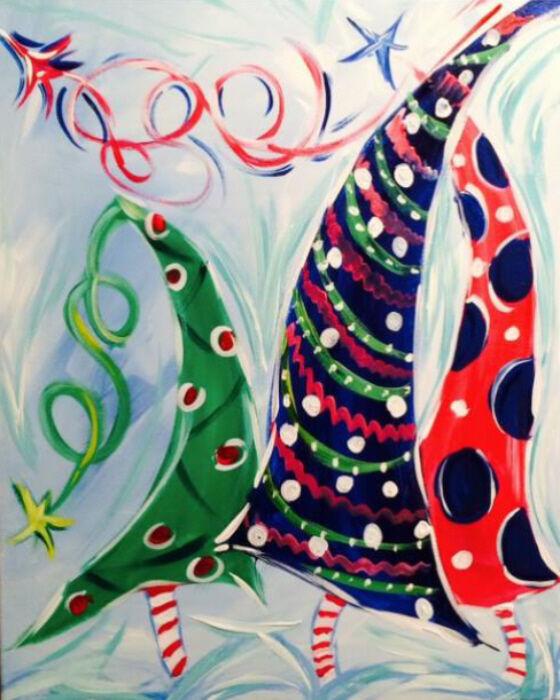Holiday Christmas Tree painting