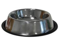 A stainless steal dog bowl.
