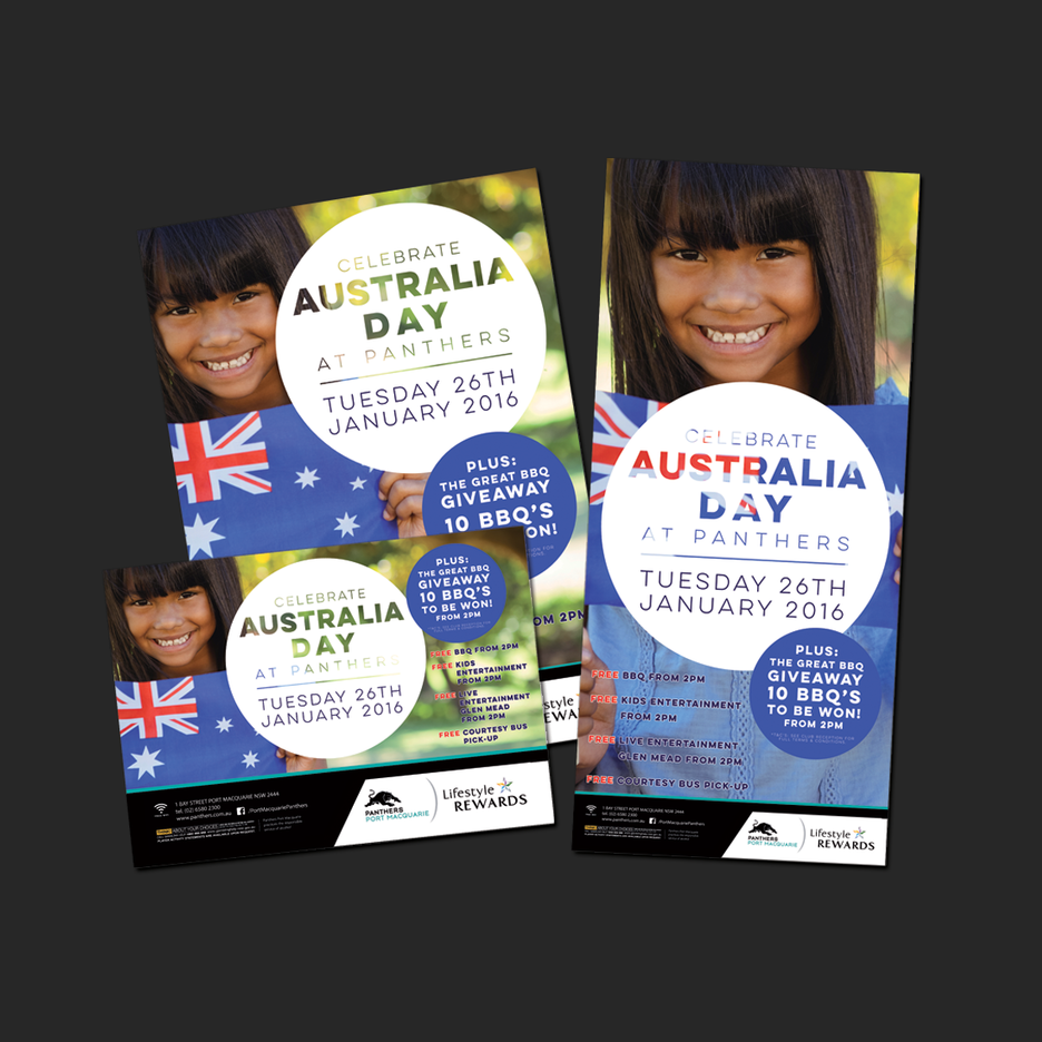 Point of Sale Design for Port Macquarie Panthers Australia Day Celebration Promotional Suite - Pull Up Banner Design, A2 Poster Design, A3 Poster Design, Billboard Design.