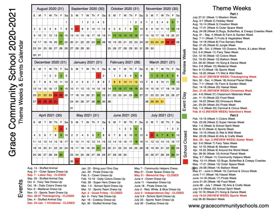 Cape Coral Events Calendar 2021 Grace Community School Calendar | Special Events and Days Closed