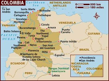 colombia is located in a western mounain range. It lies in santiago chilefarallones de cali. map shows colombia and surrounding countries.