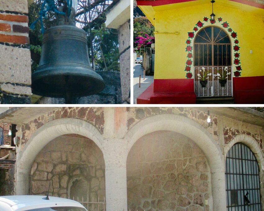 Left top: Close up of the bell on top of the chapel. Right top: Small red and yellow building next to the chapel with sculptural floral motif on the metal work of the gate, and surrounded by red painted flowers. Bottom:  Two arched doorways to the chapel, a stone and mortar structure.