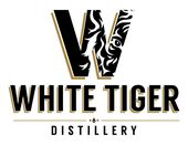 Small White Tiger Distillery icon with gold trim lettering.
