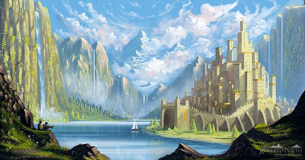Fantasy illustration of a little town with a castle. By Roberto Nieto - Syntetyc.com