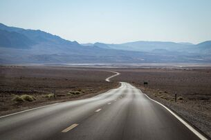 Cycling for miles in Death Valley, California