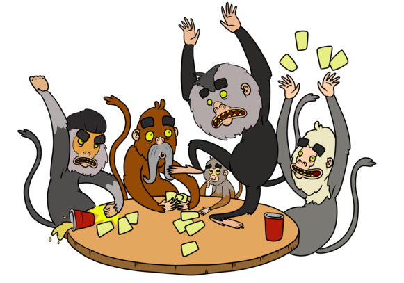 illustration.monkeys playing cards