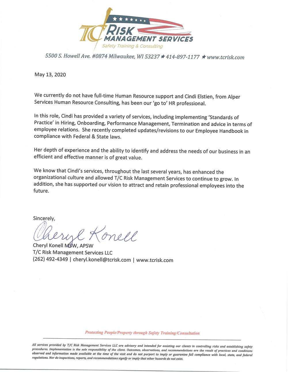 5.14.20 TCrisk Testimonial Letter for Cynthia Elstien