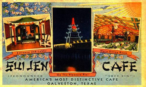 This is a midcentury graphic postcard featuring an oriental style tiki cafe in Galveston Texas