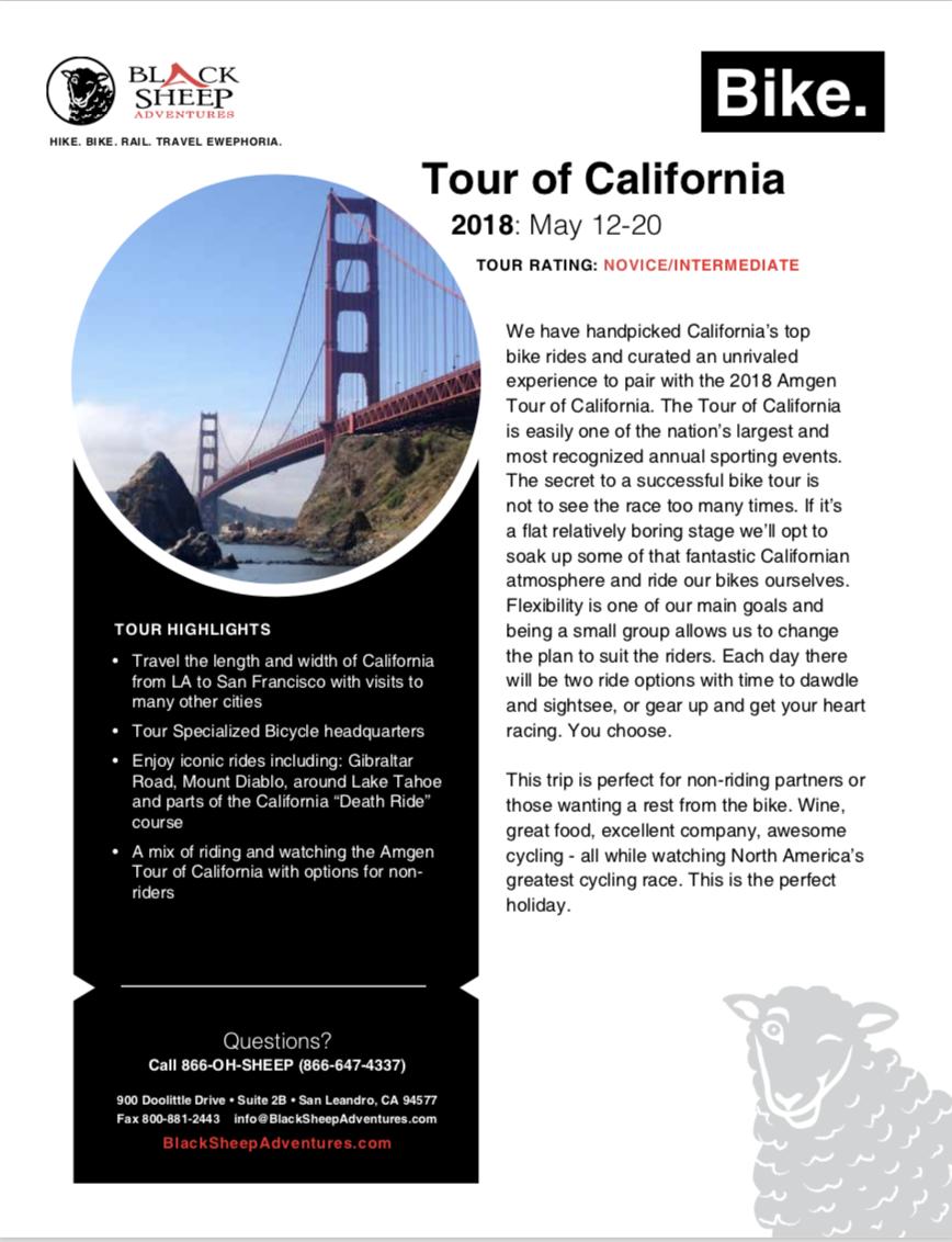 2018 Tour of California - Black Sheep Adventures