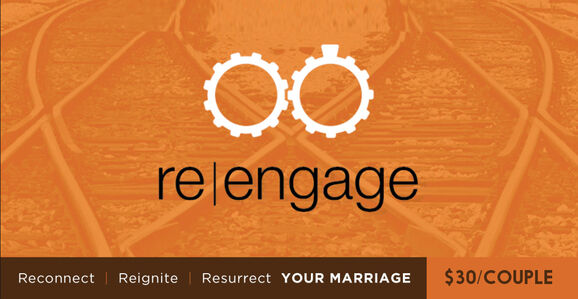 Re-engage is a marriage enrichment class that will improve your marriage—whether you think it's at a 1 or a 10. Our fall semester begins on September 14 and runs through December 7 on Monday nights. Cost is only $30/couple and includes childcare.