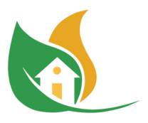 green leaf with home outline logo