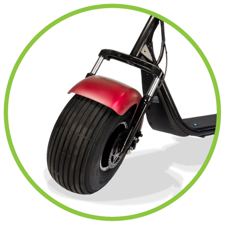 Phat Golf Scooters fat wheel in matte red metallic