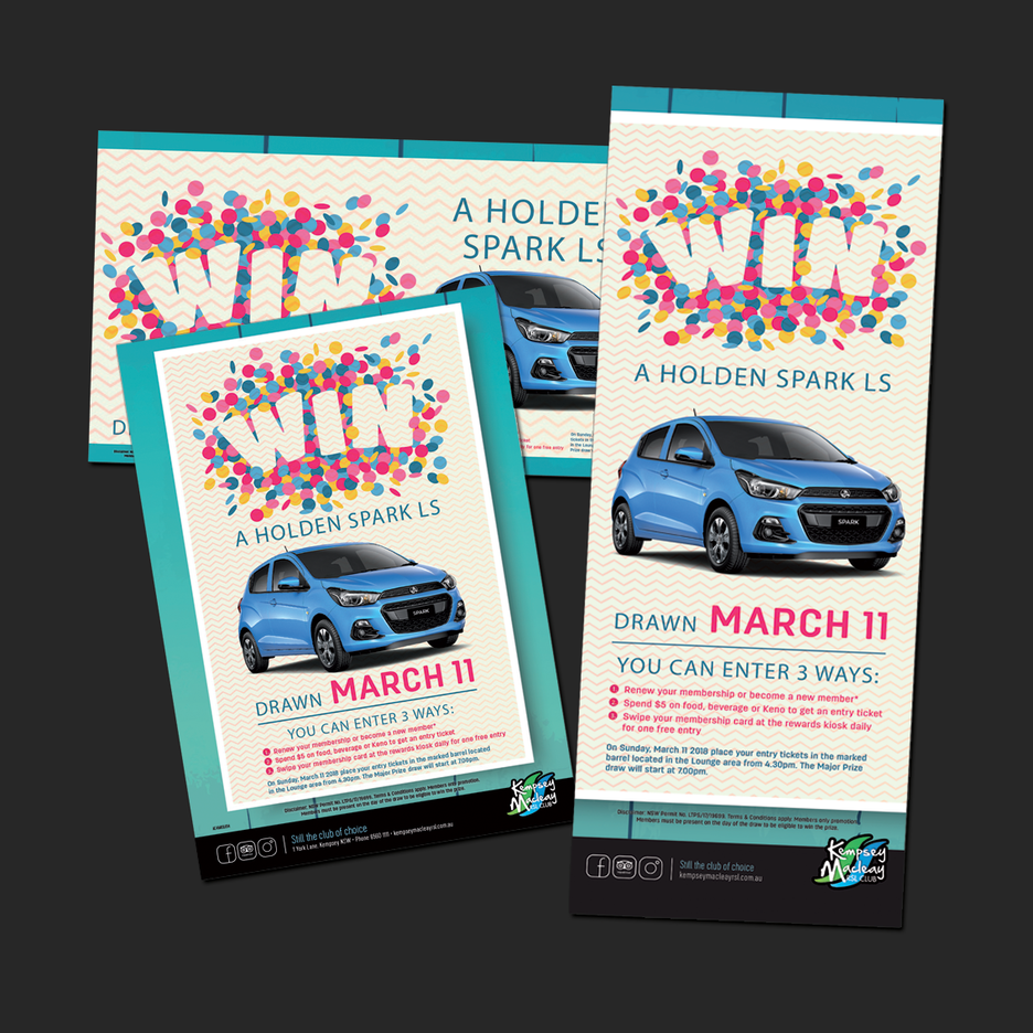 Point of Sale Design for Kempsey Macleay RSL's WIN a Holden Spark Promotional Suite - Pull Up Banner Design, A2 Poster Design, A3 Poster Design, Billboard Design.