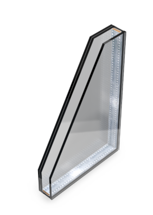 Double glazing with one layer of laminated glass
