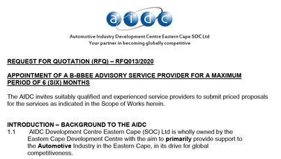 RFQ013 2020 BBBEE advisory  services 1