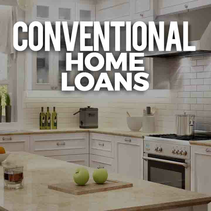 Conventional Home Loan Thumbnail Image - Background image is an all White Kitchen