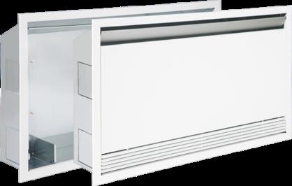 Med inbyggnadsmodulen Breeze kan du enkelt fälla in fläktkonvektor Secur i väggen.
