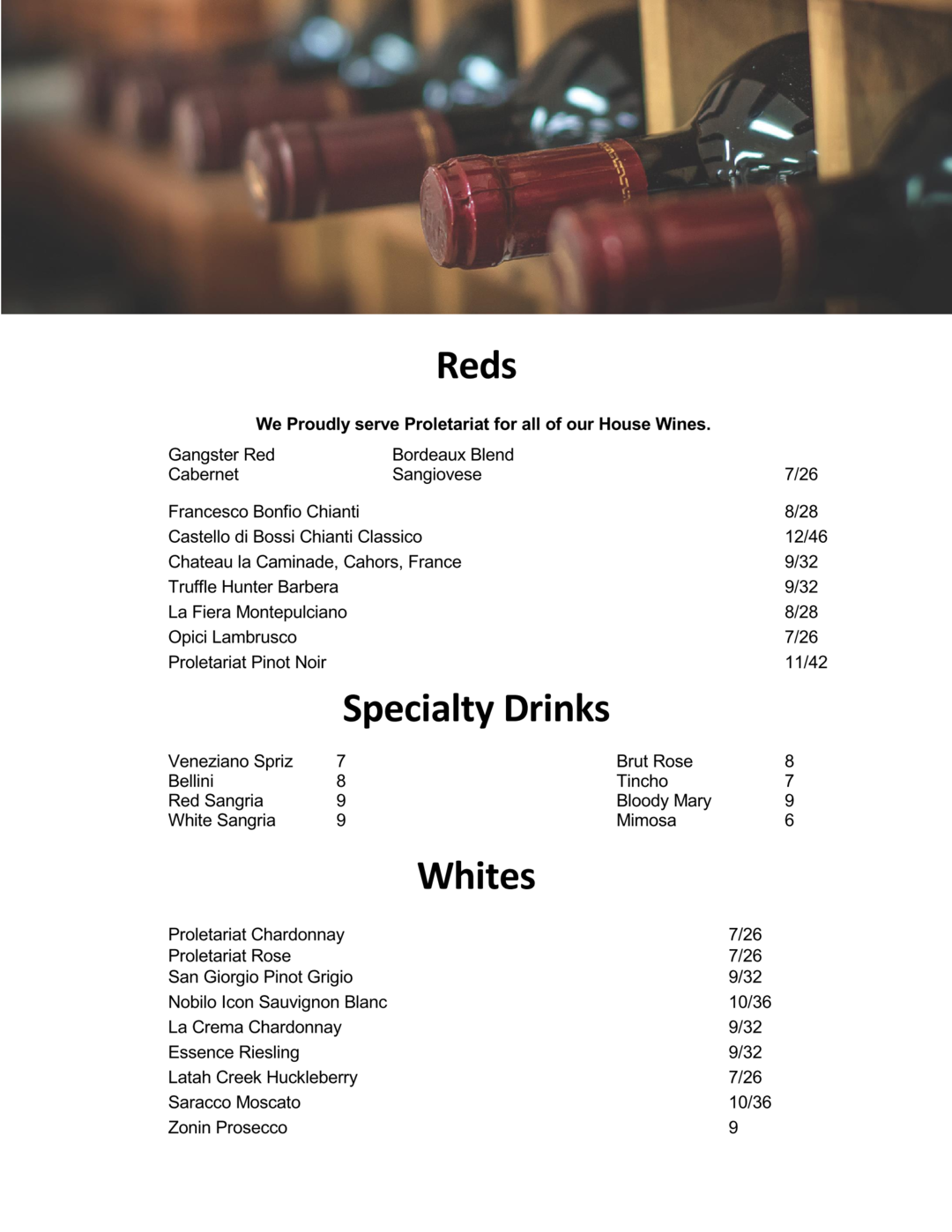 wine menu with header