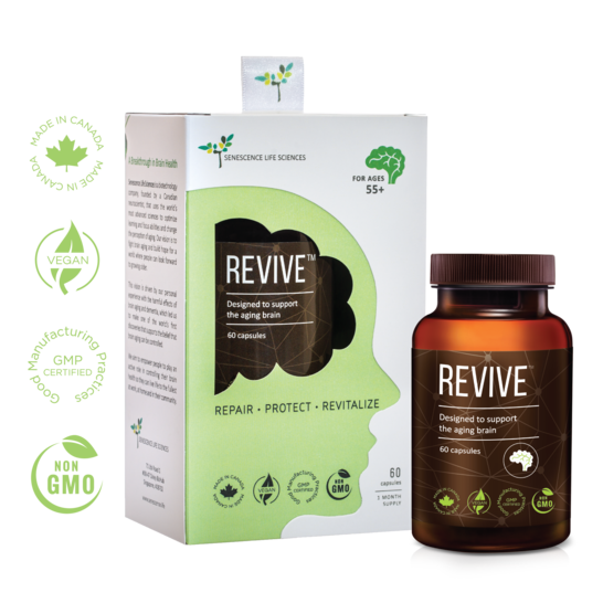 A bottle of REVIVE™ Brain Supplement along with its carton packaging. Made in Canada, Vegan, GMP Cerfified, Non-GMO.