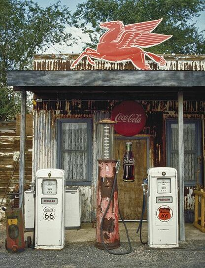 Route 66, vintage, gas station, Coca Cola sign, automobile,