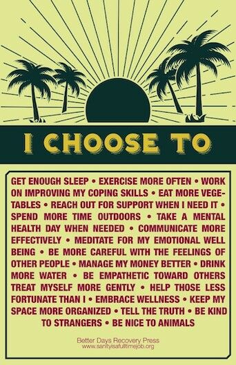 "Top features (in black on yellow) a sun with rays on the horizon, surrounded with palm trees. Bottom part blocked off with phrases in red letters separated by bullet points to explain what ""I Choose To"" do more often."