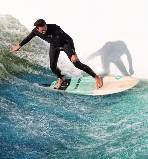 The UNIT Surf Pool creates a real deepwater wave, surfable with real surfboards.