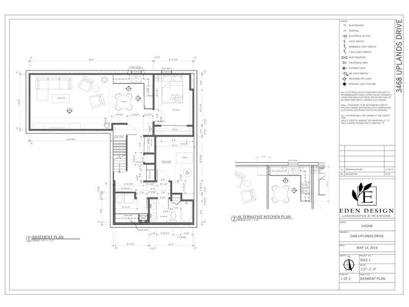 AutoCAD drawing of a basement renovation