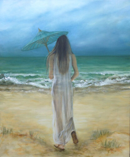Oil painting of a girl by the sea