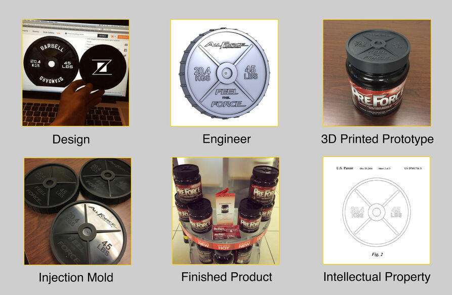 "Zmach ""Art to Part"" service. Design, Engineer, 3D Prototype, Injection Mold, Finished Product, Intellectual Property."